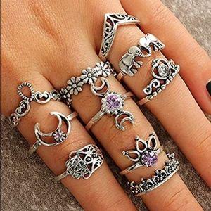 10 pc set knuckle boho rings silver & purple